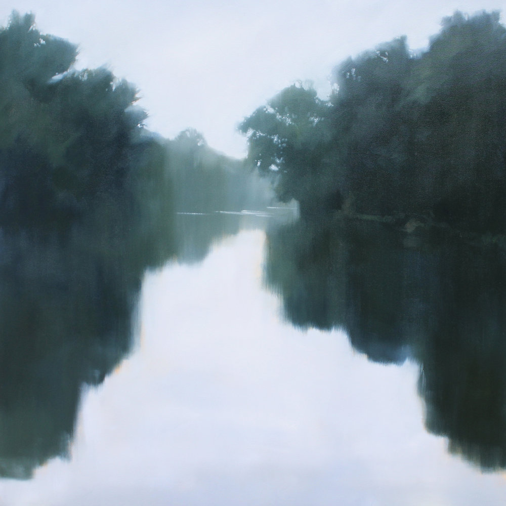 Stones River from Stone Hall, oil on canvas over panel, 48 x 48 x 2.5 in
