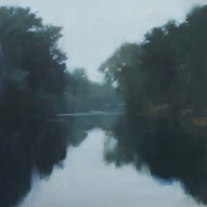Stones River from Stone Hall (Study), oil on paper, 12 x 12 in