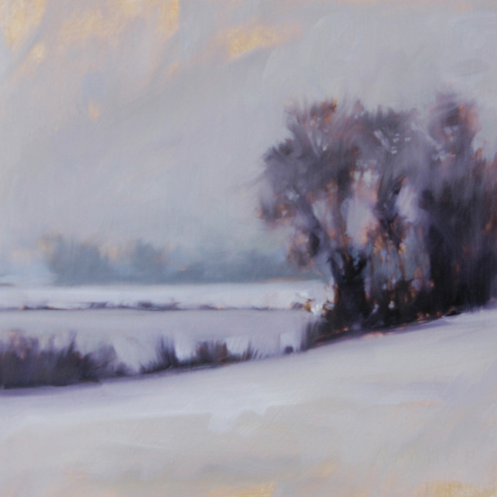 Winter study (trees), oil on paper, 10 x 10
