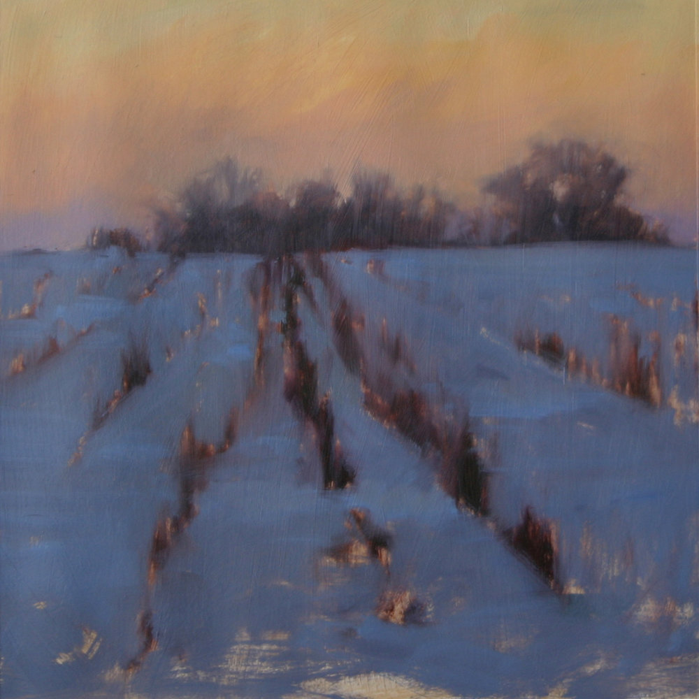 Winter study (field), oil on paper, 10 x 10