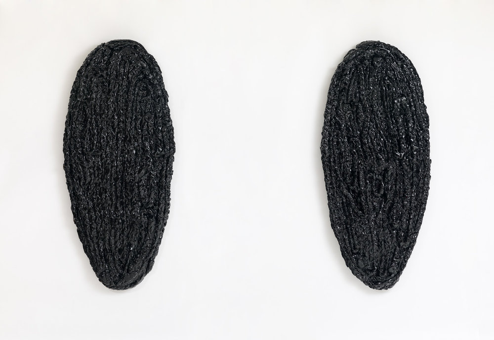 Pods, 60 x 108 x 3 inches, braided bedsheets, acrylic paint, acrylic resin and wood, 2018