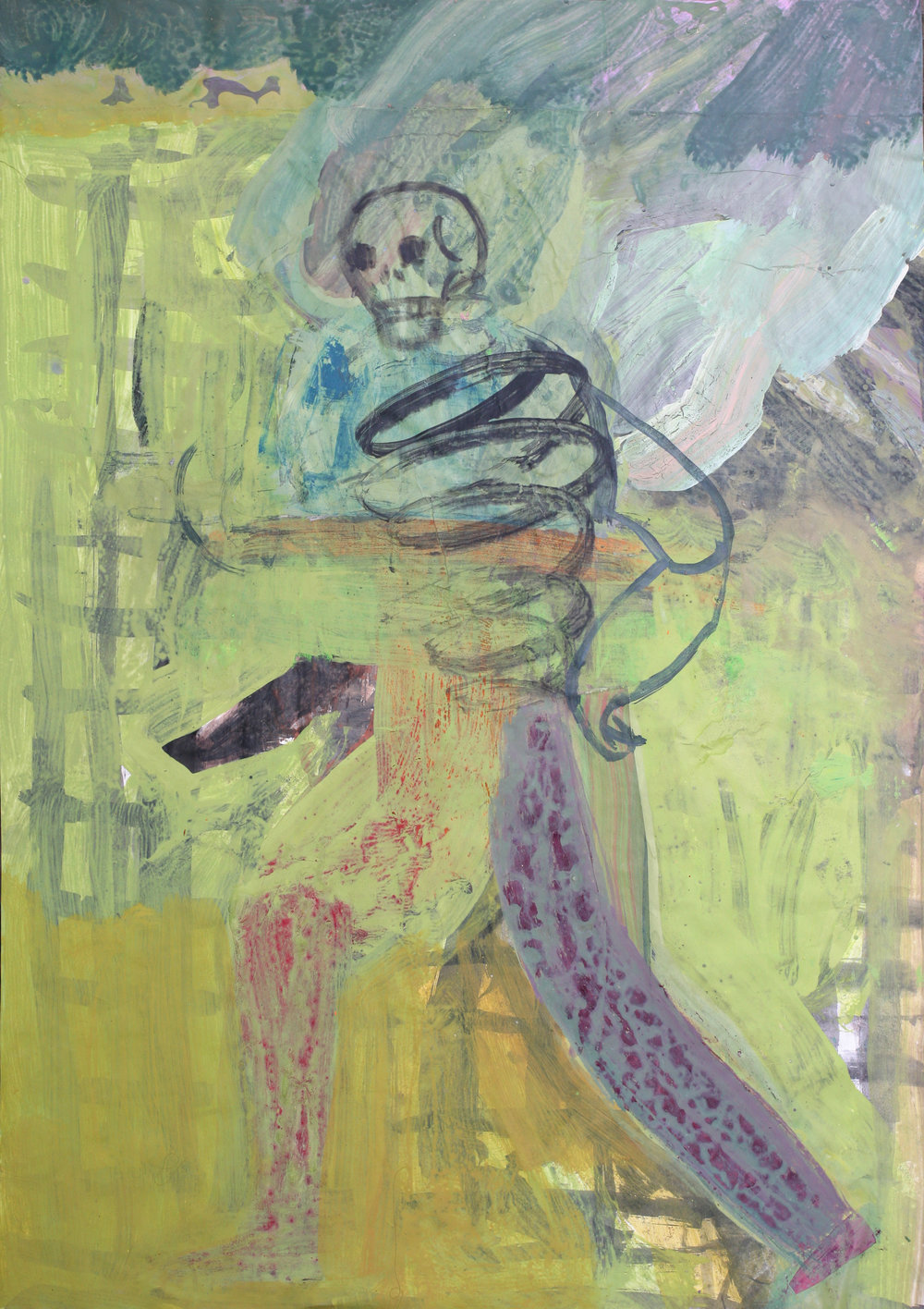 """Skeleton on a Green Background, mixed media on paper, 27""""x18"""", 2018"""