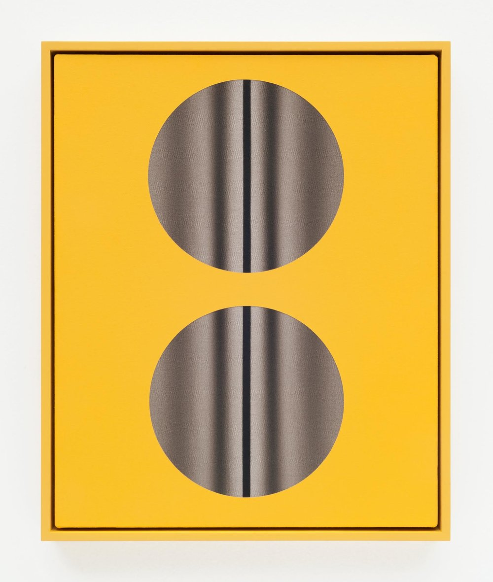 John Opera, Double Lens (yellow with lines), cyanotype, acrylic and flashe on canvas in lacquered artist frame, 21 x 17 inches