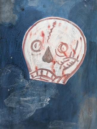 """Happy Skull , mixed media on paper, 18""""x24"""", 2018"""