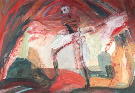 "Raging Skeleton,  mixed media on paper, 37""x25"", 2018"