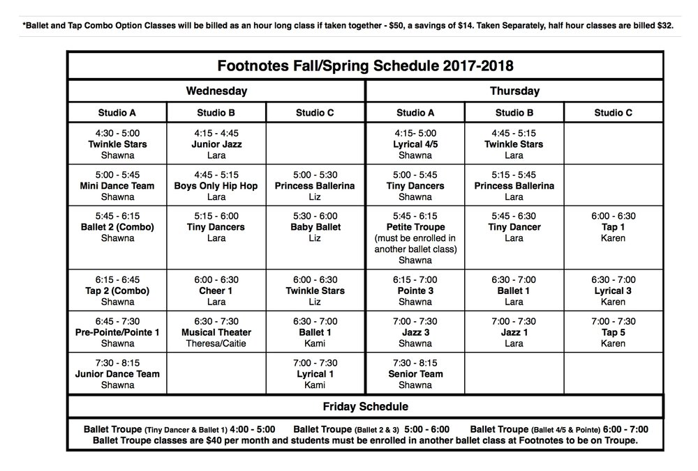 Wednesday, Thursday and Friday 2017-2018 Schedule