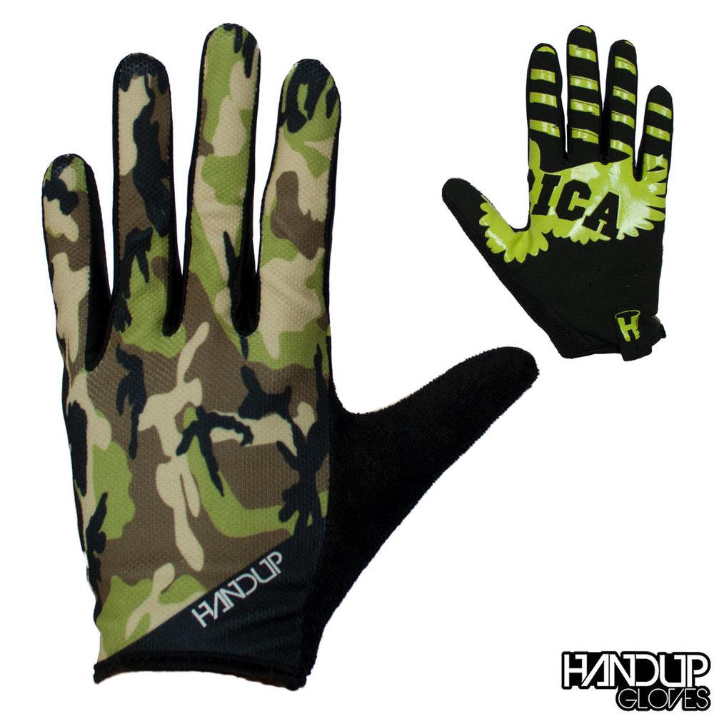 Drab camo mountain biking glove