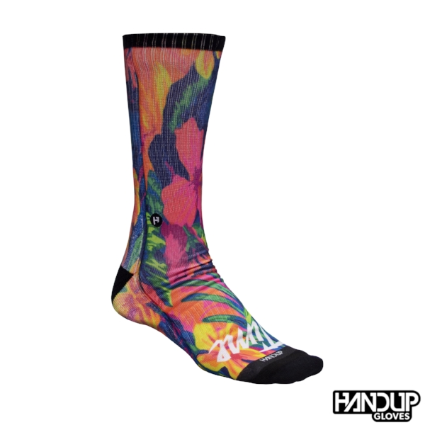 fun cycling socks handup foot down socks to match cycling gloves flamingo floral and serape (2).jpg