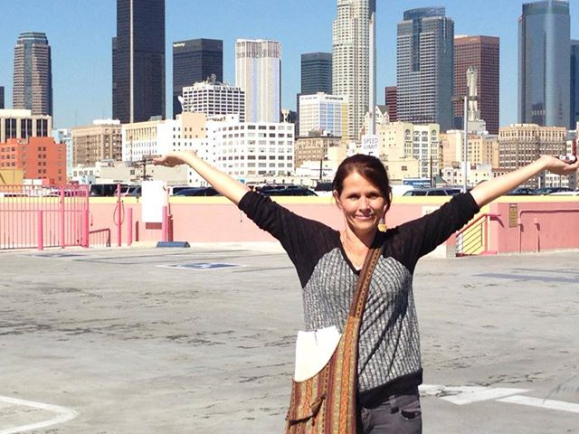 Shannon embracing our adventure in Los Angeles! Fun times.