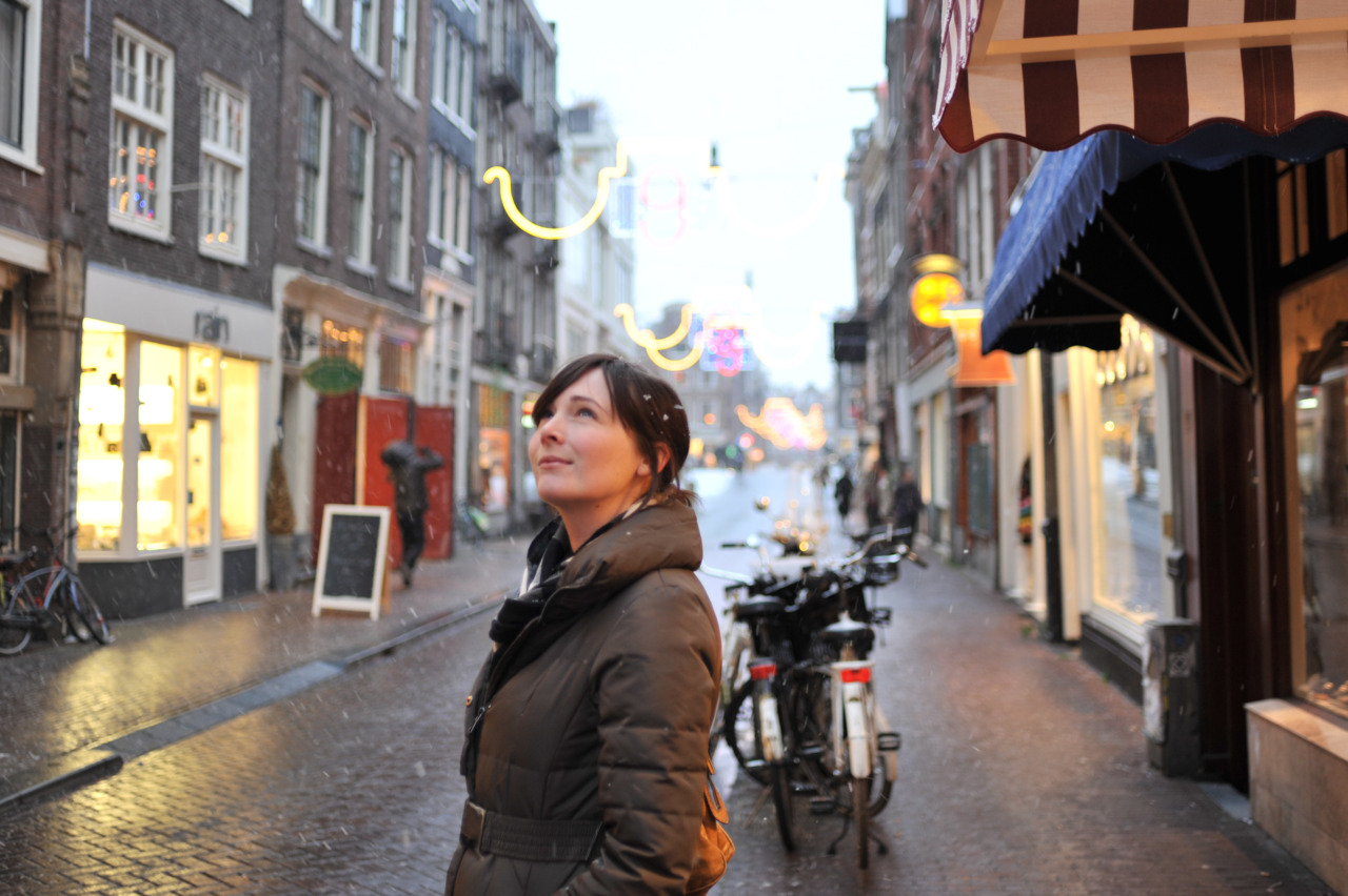 My gorgeous friend Erin on the snowy streets of Amsterdam