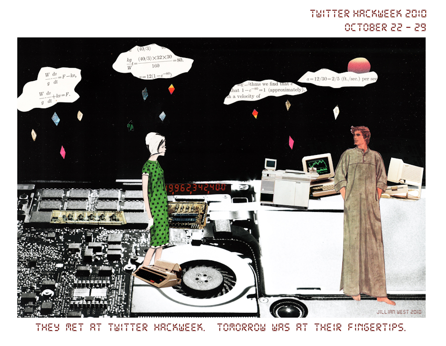 WASTELAND ROMANCE: MY ART MEETS TWITTER HACKWEEK You may or may not know that I work at Twitter, and that I find this to not only be a great place to get inspired, but also a great place to be when you have a passion beyond your worklife . Wearing two hats here isn't discouraged, it makes sense. I think this is why we have so many incredibly creative and amazing people in one place. Anyway, to the point, coworker B asked me a little more than a week ago if I wanted to contribute to HackWeek (http://engineering.twitter.com/2010/10/hack-week.html)* with a piece of art, and he said it with such enthusiasm (and flattery for my art) that I listened, but it didn't really seem like something I could do. I make my art for Me. I see things that need to come together, and I put them together. I've never made something because I was asked to. I didn't trust that I could do it, especially after taking a few weeks off from art. I also didn't trust that the style of my art is what would work best here (it's rather fem for a heap of mostly male engineers, I thought). I promised to think about it, but wouldn't promise to commit. Two days later, while brainstorming with J on how this could possibly work, the idea sprouted. She said something about the inside of computers, and I remembered the fascination when first seeing the inside of something electronic, or maybe when I first saw the view of land from above- How exactly like each other they looked, how opposite from each other they were**. Planes of farms, boards with dots, cities, all of the little components… I found another J who was happy to take apart a broken laptop for me, I borrowed a camera, found some harsh window lighting in the office, printed, and then rummaged through the hundreds of patterns and books until the pieces started coming together. I wanted to express the idea of a wasteland of electronics from days gone, the lack of life but ability to create it, feeling a bit apocalyptic but not entirely doomed. They were life, they were standing atop huge buildings over a city, near farms, it was raining ideas…Maybe the world is just in their head? Ideally, my art will never be taken too literally, and people can make their own stories of what it means to them. When I showed B in person, he already had his own sci fi story that it spoke to, others thought I might be suggesting romance at Twitter, which was never the case. For me it's a wasteland romance. The world is at their fingertips. *See also http://techcrunch.com/2010/10/22/twitter-hack-week/ **Fun Fact- The little collaged bits in the farm area are actually farm