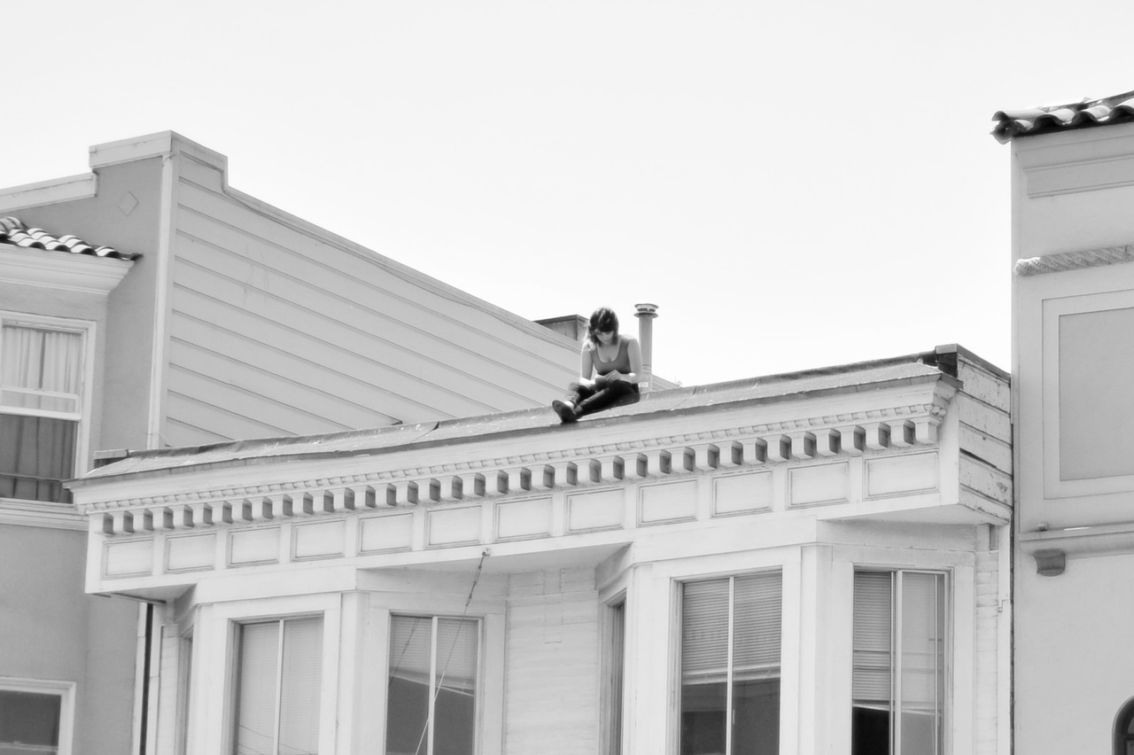 Girl on a Roof, Mission San Francisco.  (you never know what you'll find when walking around on a Saturday afternoon in SF)