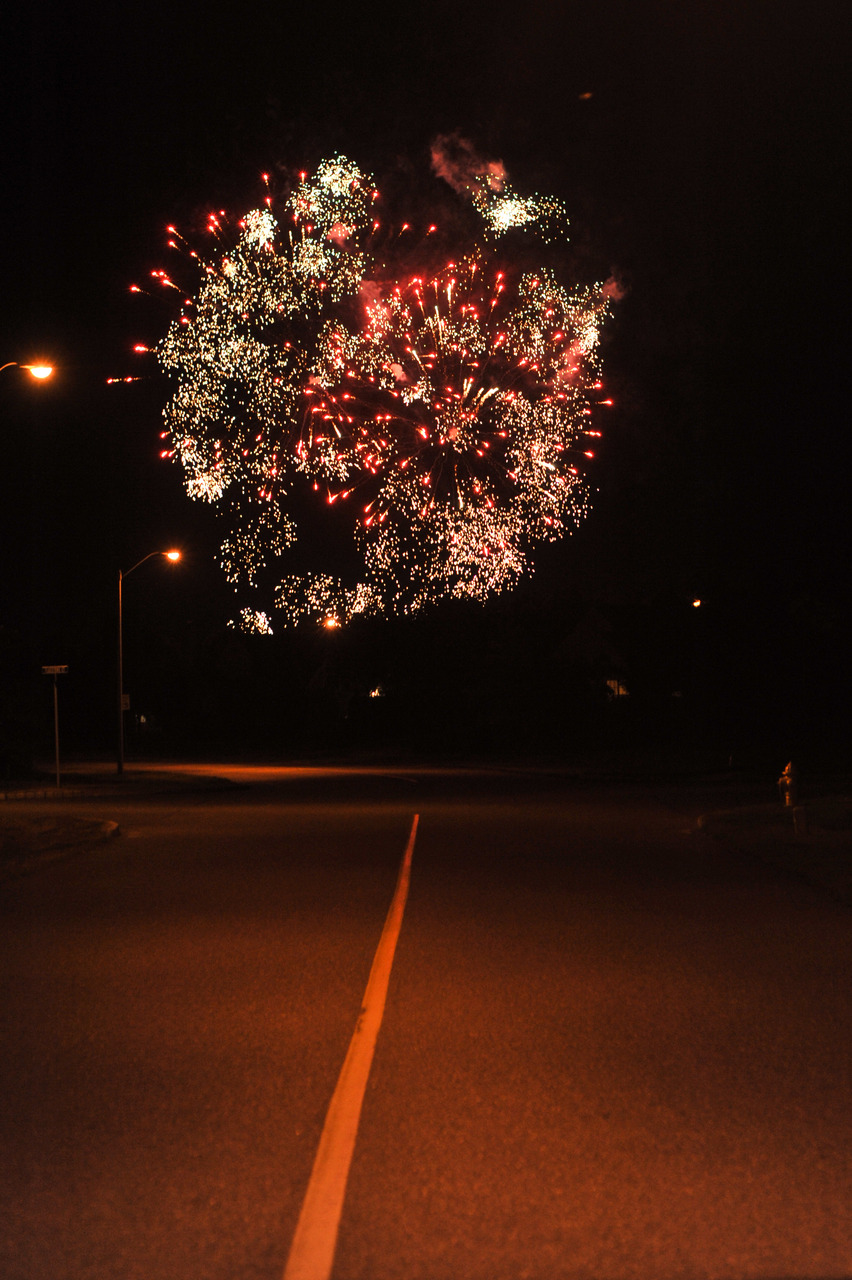 Happy Fourth of July! Photo taken from the middle of a desolate road in front of my grandmother's house, a few hours after landing on the east coast.