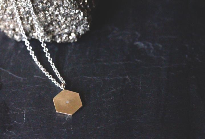 Rebecca Mir Grady Diamond Hexagon necklace 14ky gold
