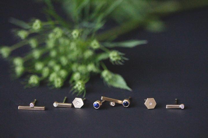Rebecca Mir Grady Diamond and Sapphire 14k Gold Earrings