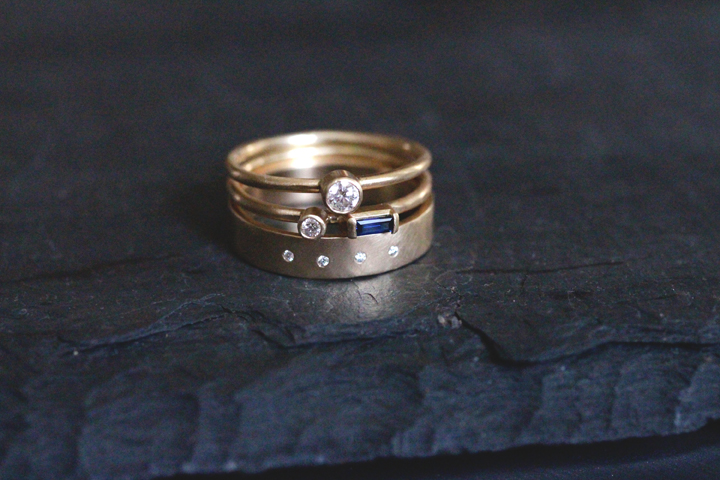 Rebecca Mir Grady Diamond and Sapphire 14k Gold Rings