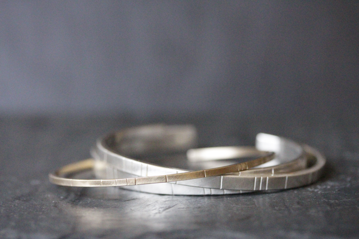 Rebecca Mir Grady 14k Gold and Silver Breakwater cuffs