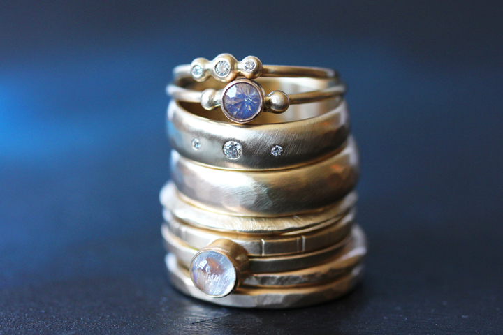 Rebecca Mir Grady 14k Gold Diamond Opal and Moonstone Rings