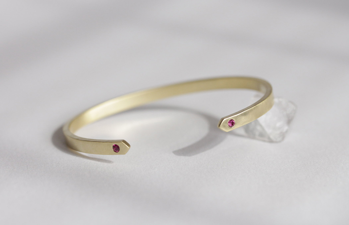 18k yellow gold cuff with 2.5mm rubies