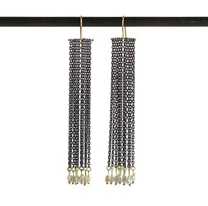 Sarah McGuire oxidized sterling silver chain and pearl earrings