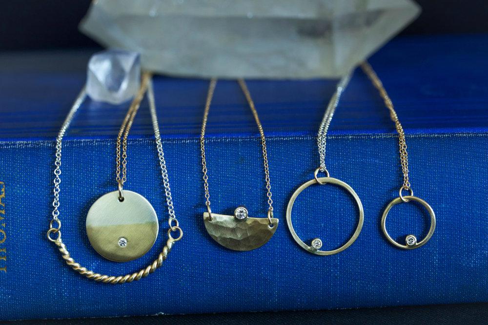 The  Cloudbreak Rope ,  Sunrise Diamond ,  Small Diamond Hammered Mavericks ,  Circe Diamond  and  Circe Small Diamond  necklaces