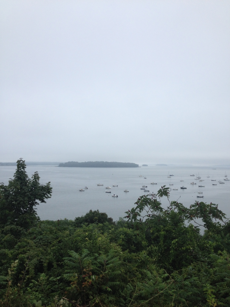 looking out on foggy Casco Bay from the Eastern Promenade in Portland