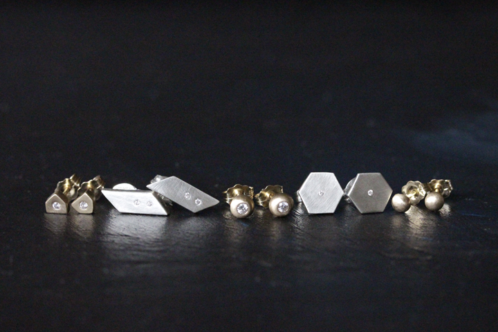 the  Markham Diamond , Sofia,  Diamond Orb ,  Hexagon Diamond , and  Orb  studs