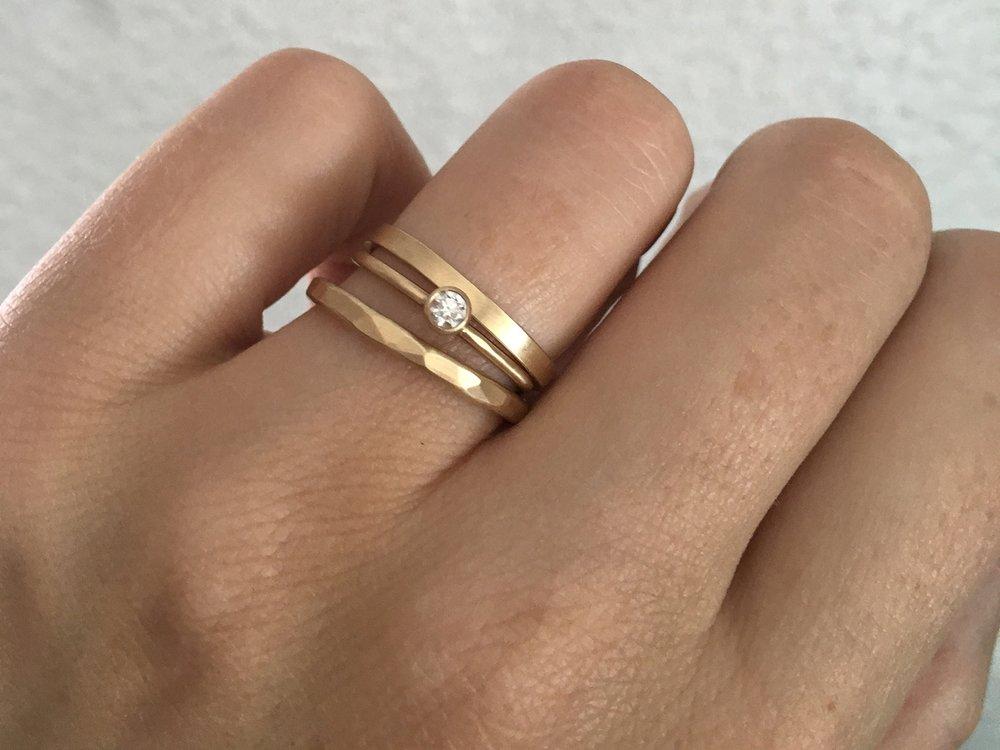 The  2mm Mitla ,  Oaxaca Diamond  and  2mm Highsmith  rings in 14k yellow gold.