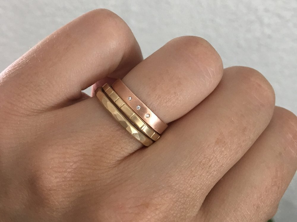 The  2mm Mitla ,  2mm Breakwater  in 14k yellow gold with the  3mm Diamond Highsmith  in 14k rose gold.