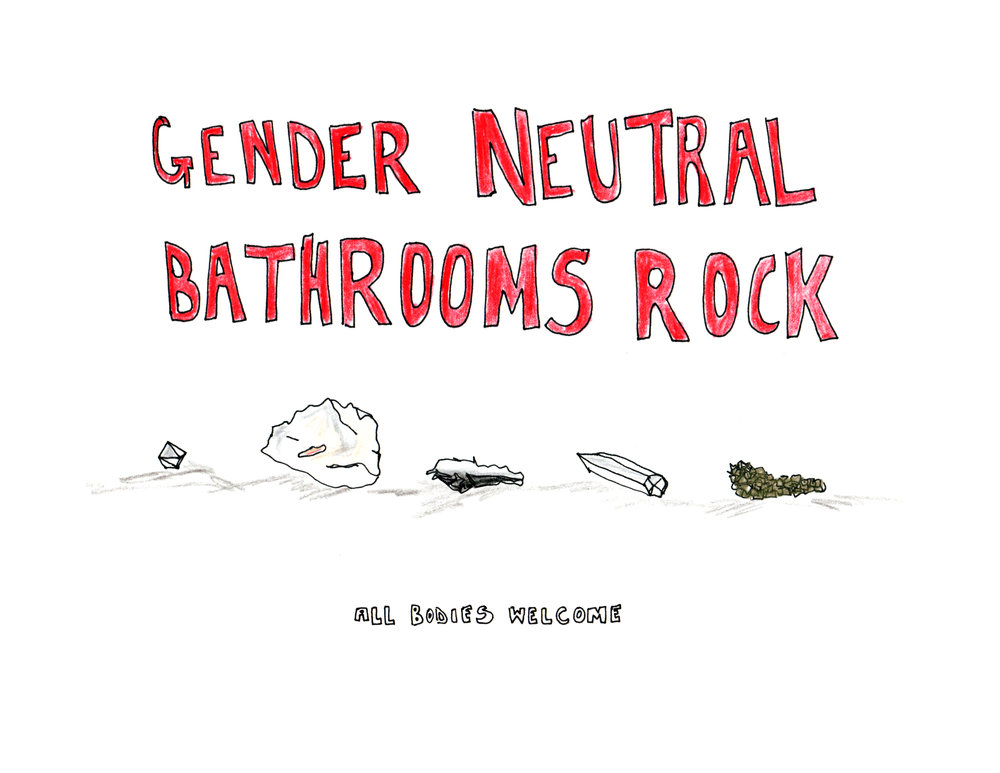 Gender Neutral Bathrooms Rock, sign made for  CHANCES DANCES
