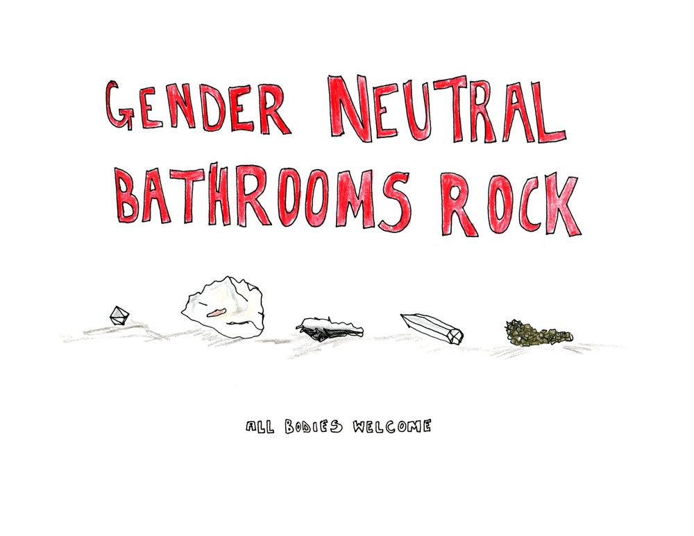 Gender Neutral Bathrooms Rock, sign made for  CHANCES DANCES