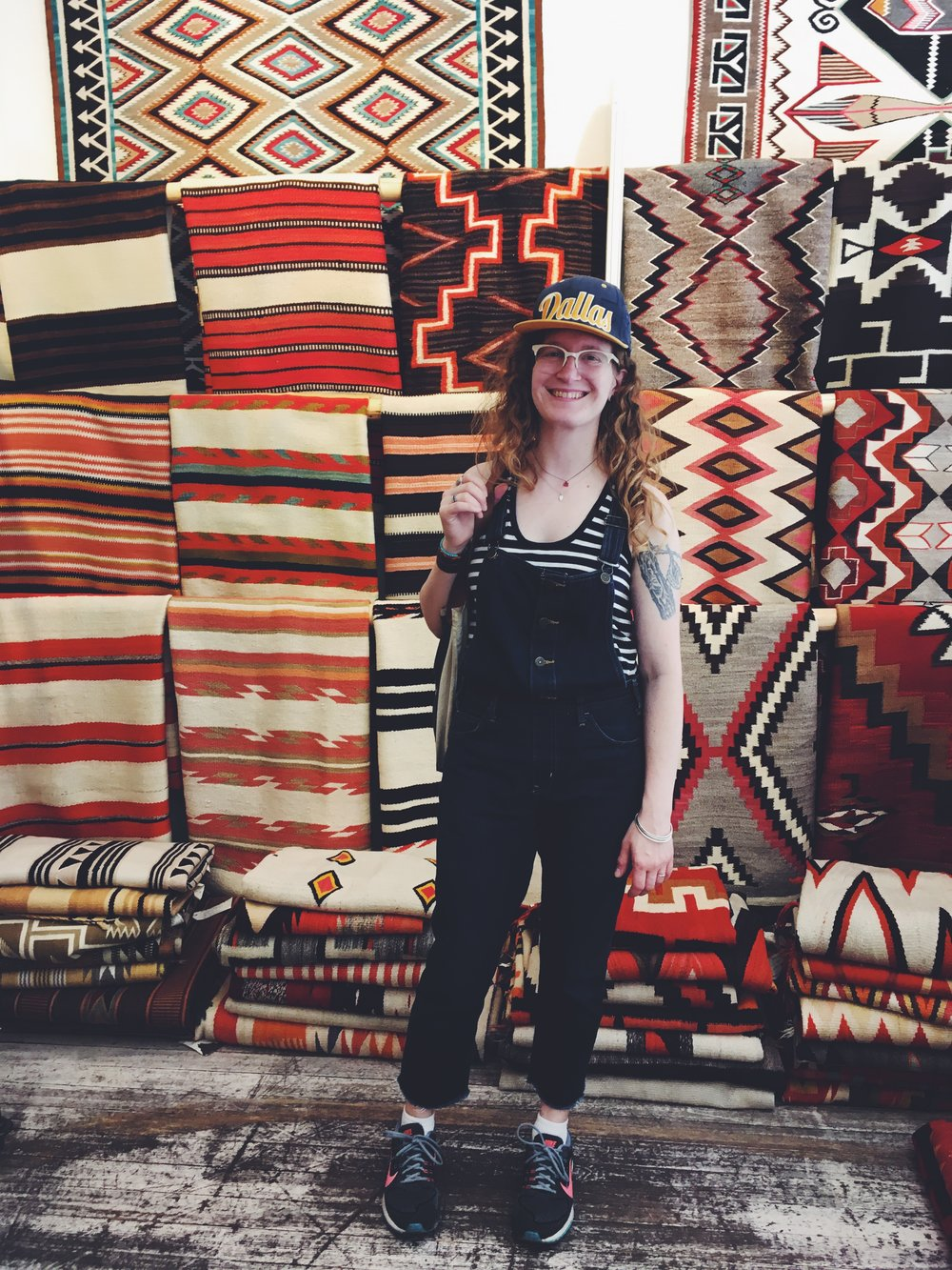 Marian  in the rug room at  Shiprock