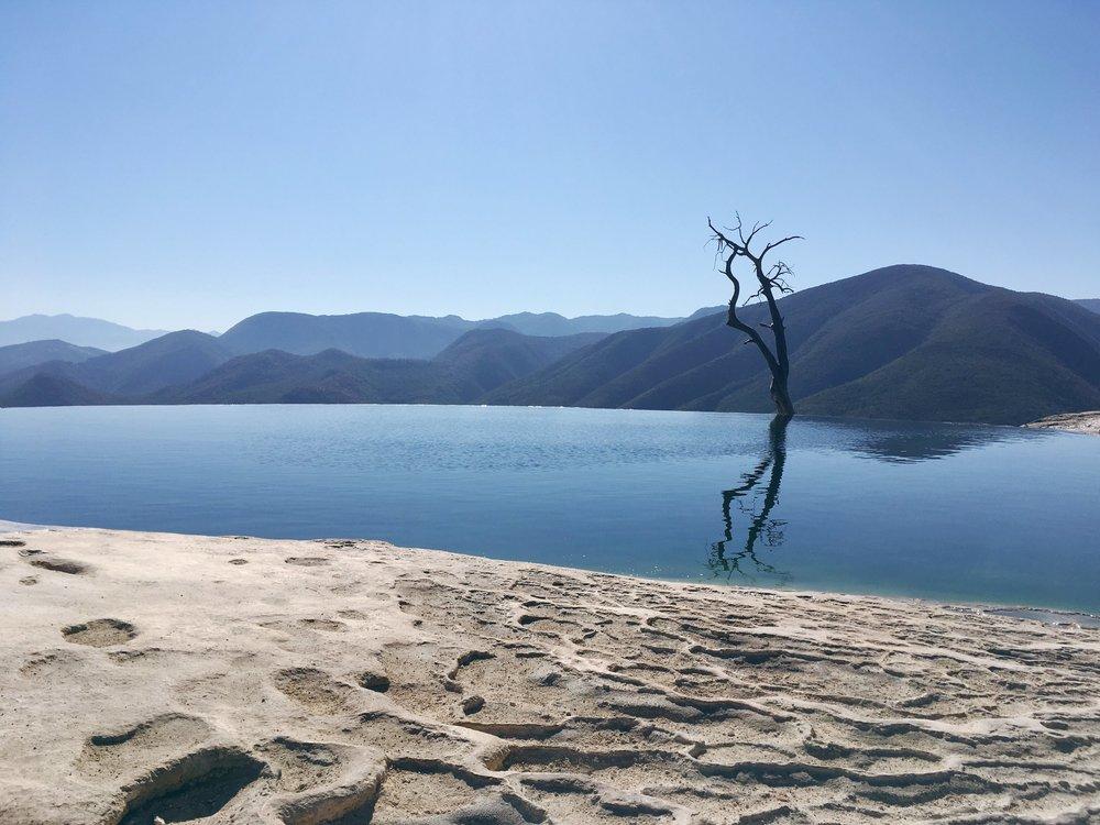 January: Hierve el Agua, in Oaxaca Mexico for  Pocoapoco
