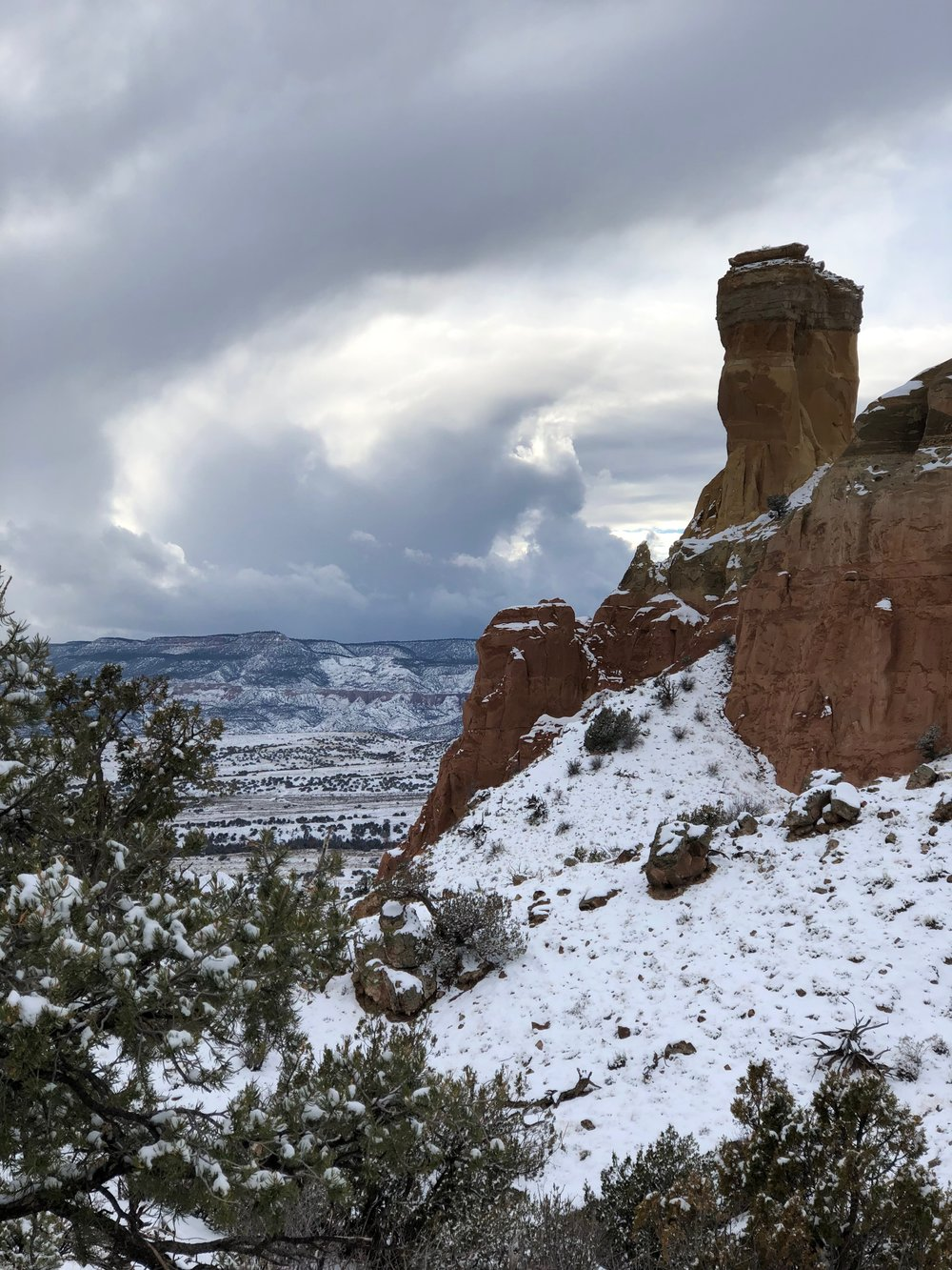 Chimney Rock in the snow