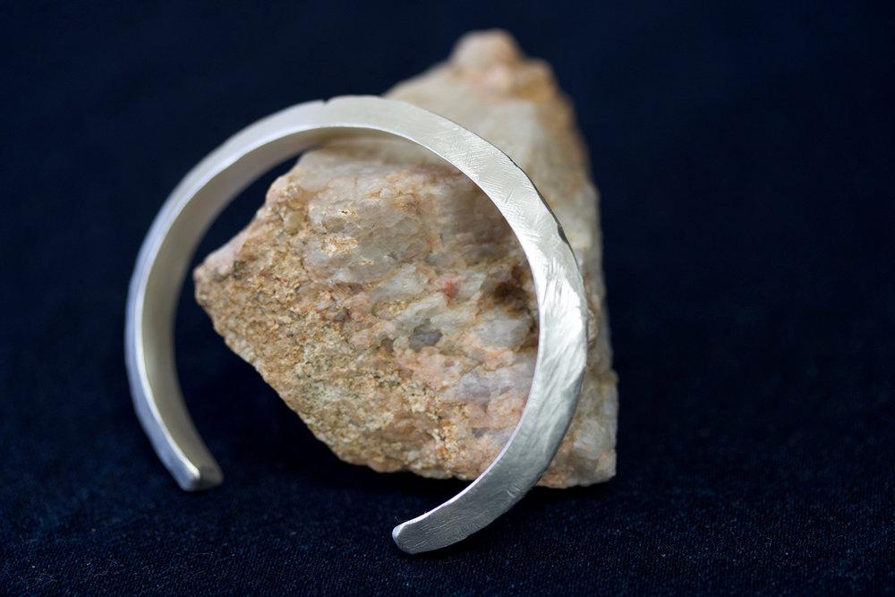 8mm hand carved  Ridge  cuff bracelet in sterling silver