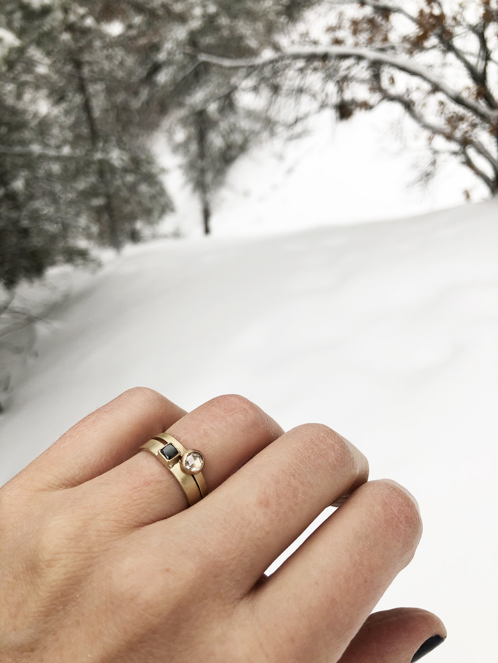 Took the  Diamond Mesa  and  Katherine Rosecut Diamond  rings out for a snowy walk in the forest.