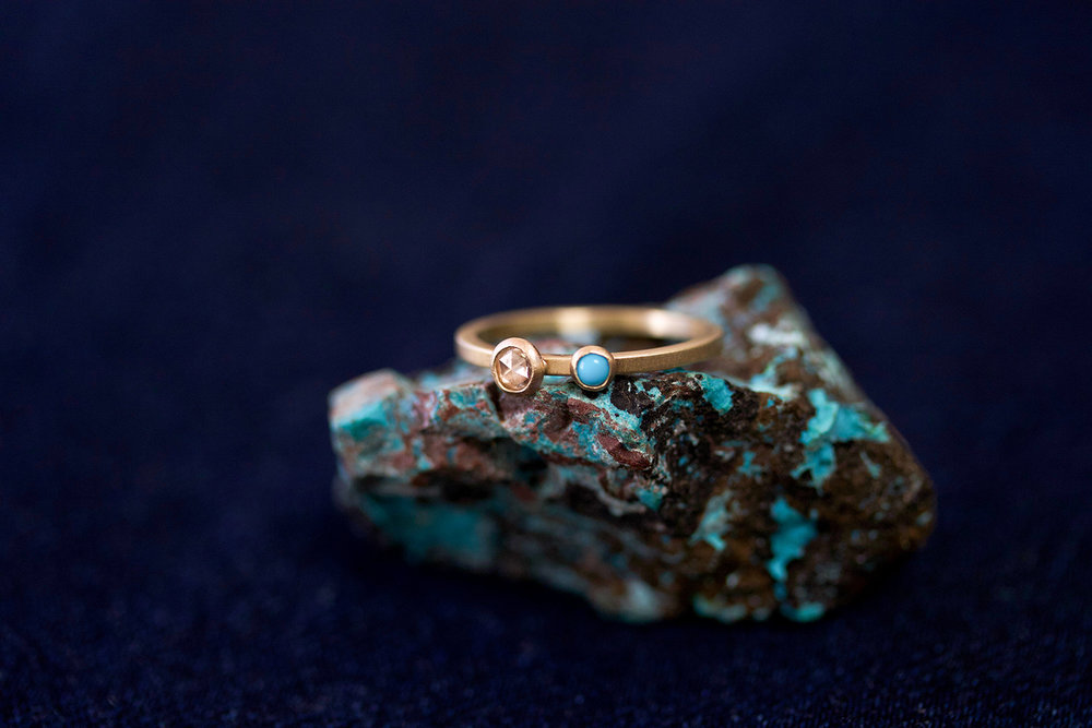the  Georgia  ring with a rose cut white diamond and turquoise