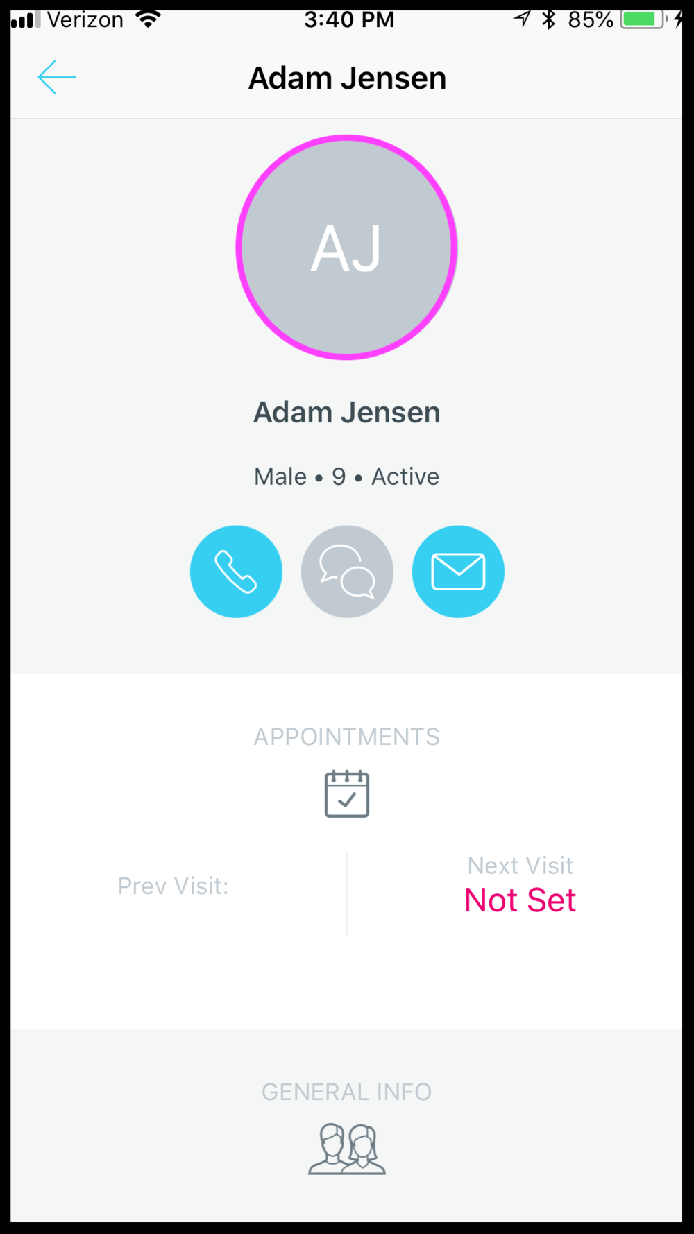 STEP 3 - TAP ON THE PATIENTS ICON ON THE PATIENT DETAILS SCREEN