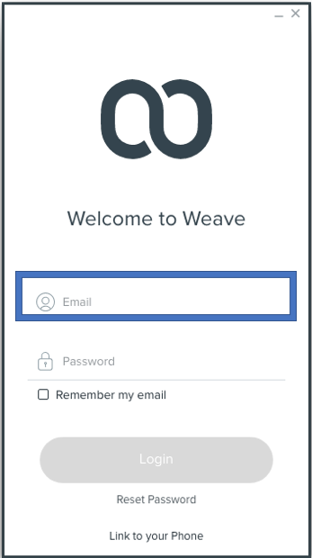 STEP 1 - Enter the email associated with your Weave account. If you don't know it, your office admin can look it up in the Weave Portal for you.  (app.getweave.com)