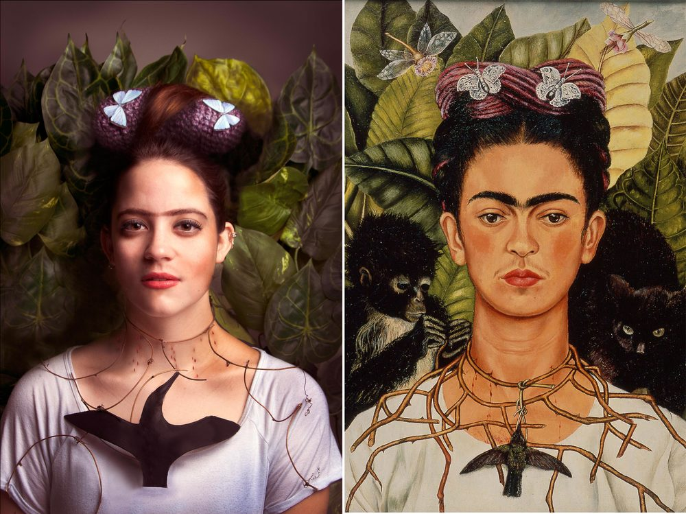 """Self Portrait with Hummingbird and Thorns"" Frida Kahlo 1940"