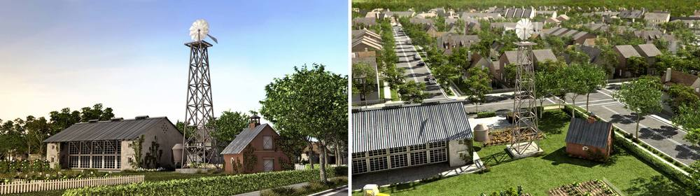 Renderings of future concept building at Hampstead Farm