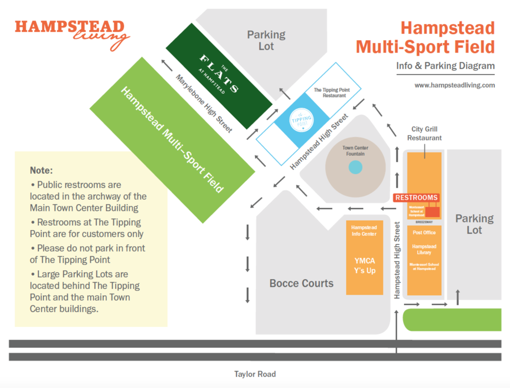 Hampstead Multi-Purpose Sports Field: Parking and Directional Map