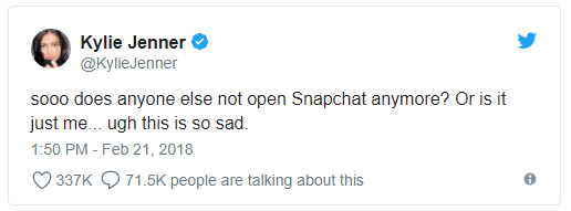 Am I Next? Kylie Jenner tweet about Snapchat
