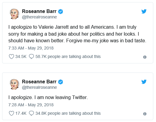 Roseanne Barr's Apology for Valerie Jarrett tweet.