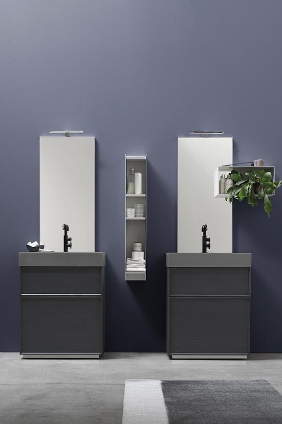 Monoblocco di design - Oltre alle soluzioni sospese, l'ampia modularità di Vanity consente di creare un bagno moderno più contenuto nelle dimensioni, ma di grande impatto, come le basi a terra con due cassetti.