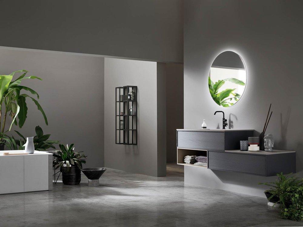 ARCOM - Soluzioni e materiali innovativi per l'arredo bagno di design, dalle finiture impiallacciate al marmo, dal vetro al gres,...