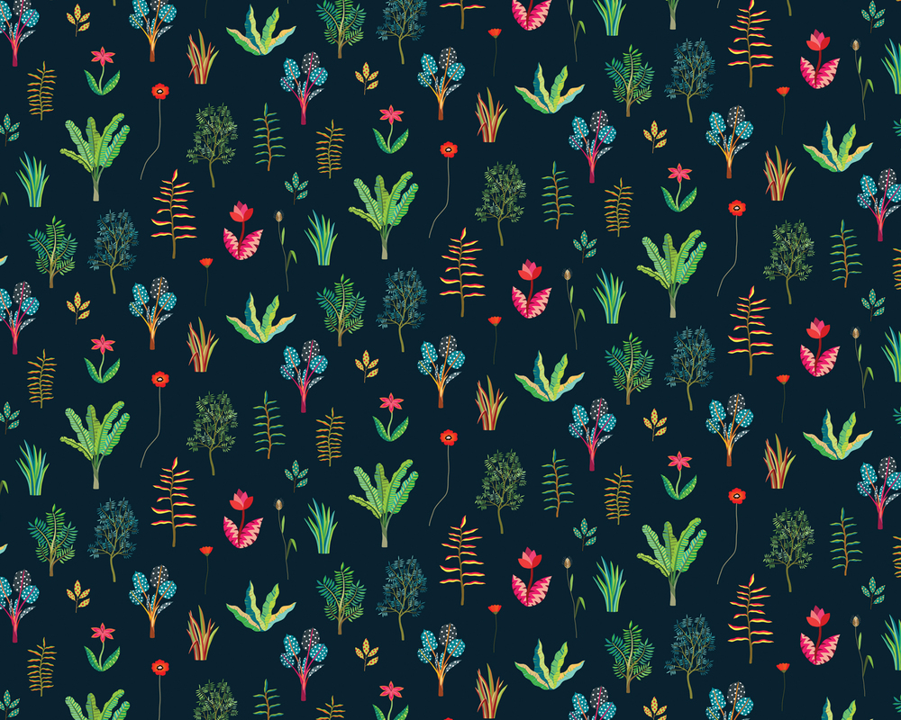 Hvass&Hannibal | Herbarium Midnight fabric pattern for Heal's
