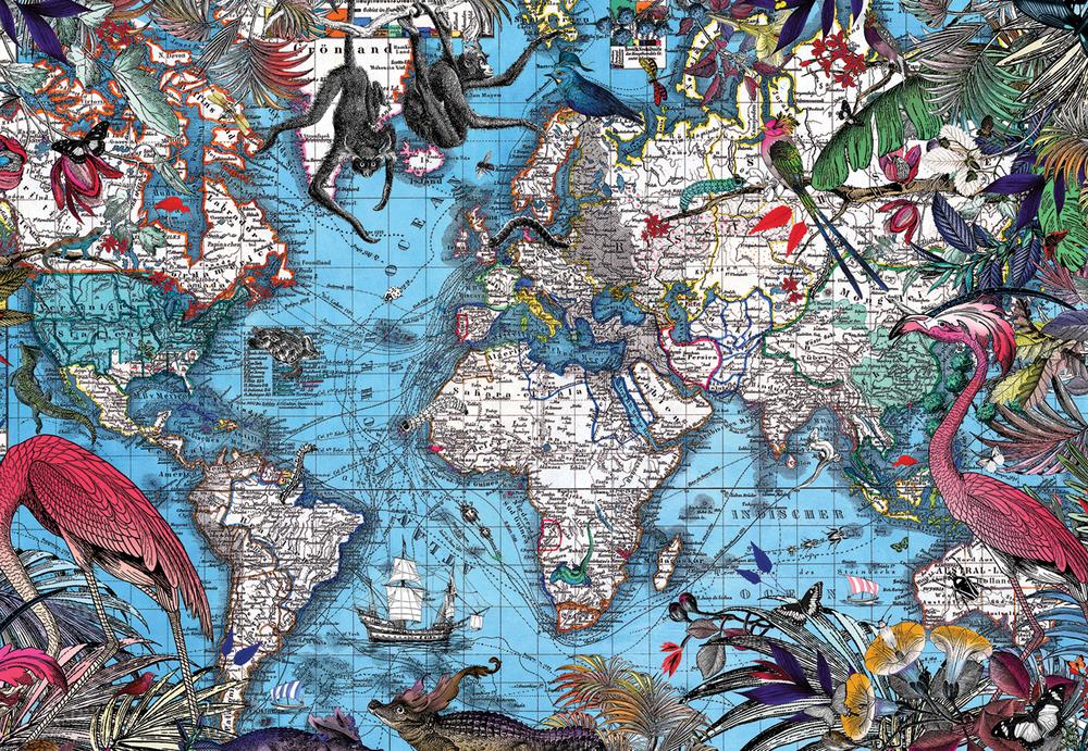 Kristjana S Williams | Falin Viltur Blar (Blue World map)