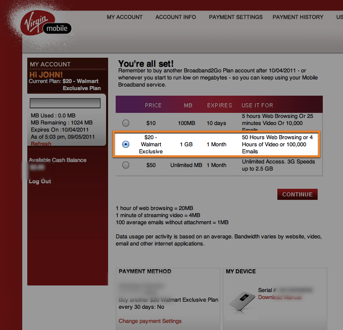 Virgin broadband pre paid internet