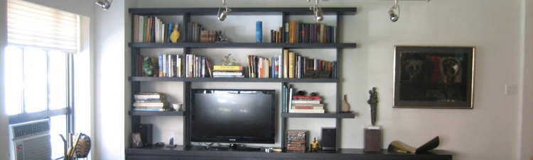 MEDIA CABINET AND BOOKSHELVES